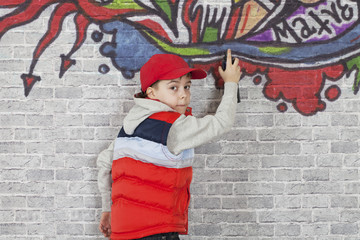 Making Graffiti on a brick wall