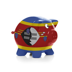 Piggy bank with flag coating over it - Swaziland