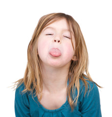 Young girl with tongue out