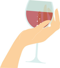 vector female hand holding glass with red wine
