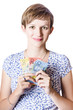 Happy woman holding Australian money