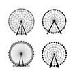 Ferris Wheel from amusement park, vector silhouette - 61089078