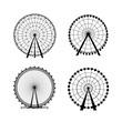 Ferris Wheel from amusement park, vector silhouette - 61089078