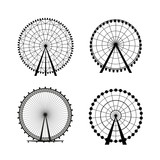 Ferris Wheel from amusement park, vector silhouette