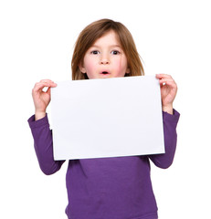 Young girl holding blank poster sign