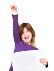 Cheerful young girl holding blank sign with one arm raised