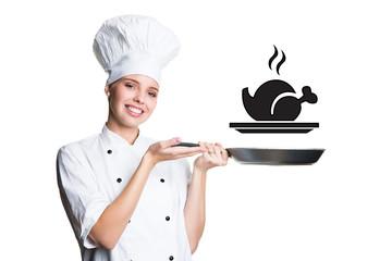 Köchin mit Pfanne und Essenssymbol