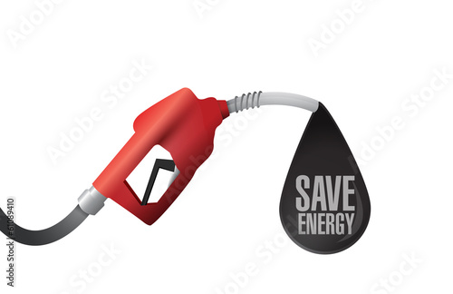 gas pump and save energy message