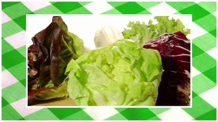vegetables edited sequence over green tablecloth background