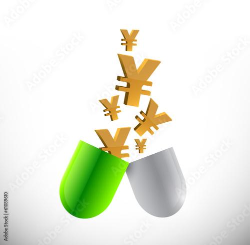 yen prices of medicine illustration design