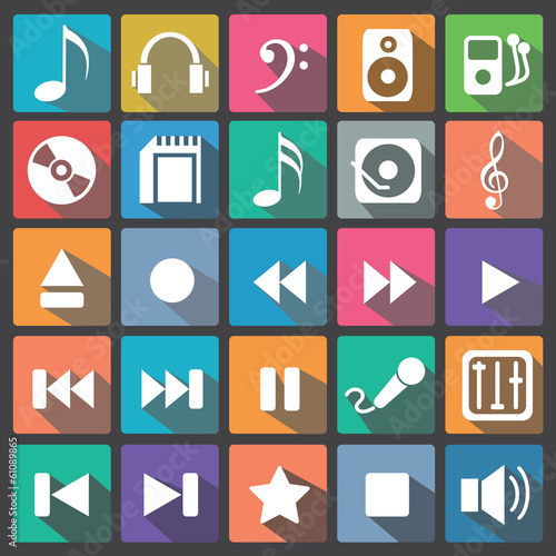 Audio music icon set