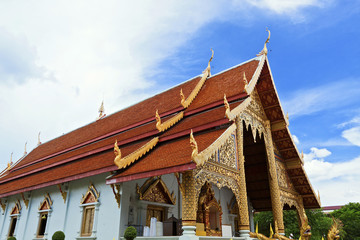 Thai northern style church of Wat chadi liam in Chiang Mai Thail