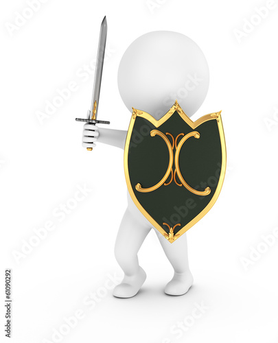 3d man with shield and sword