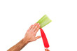 Close up of hands cutting aloe vera with a knife