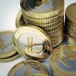 Golden Litecoin digital currency coin.