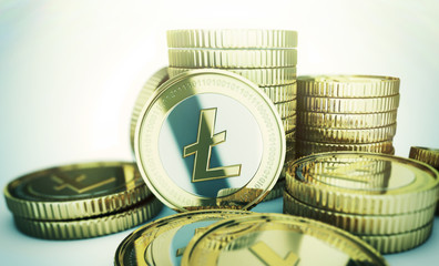 Golden Litecoin digital currency coin.