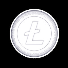 White Litecoin digital currency coin.