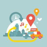 Fototapety illustration of an urban life with taxi and geo location