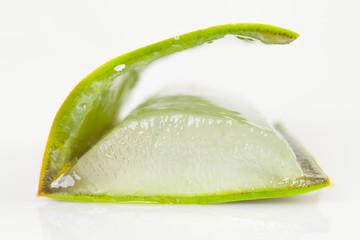 Cut of Aloe vera leaf.