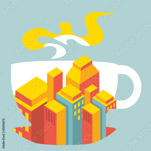 city ​​buildings inside the cup of coffee