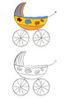 Coloring page with a pram on a white background. Vector