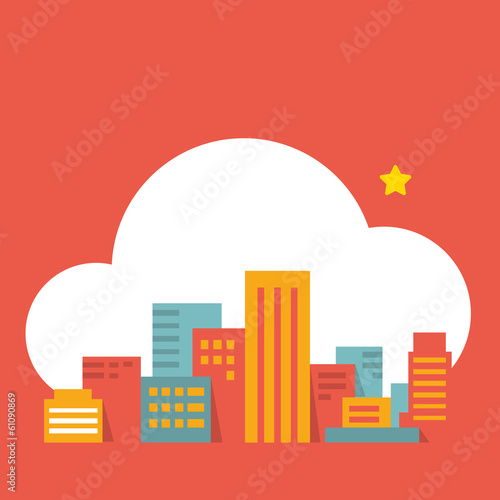 flat style illustration modern city  in the cloud