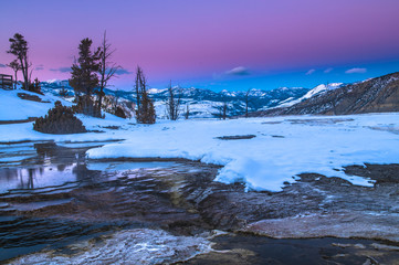 Yellowstone Winter Landscape at Sunset