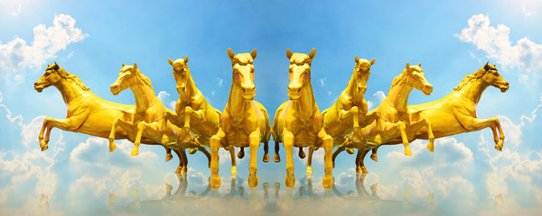 Group of golden horses running on the cloud