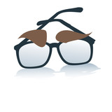 glasses with eyebrows, identity, symbol,business