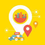 Fototapety Vector taxi service and navigation in city