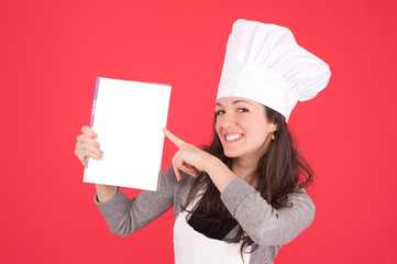 lady chef showing blank menu