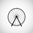 Ferris Wheel from amusement park, vector silhouette - 61091823