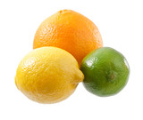 lemon, lime and orange isolated on white background