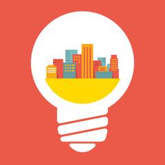 Illustration: a large city in lightbulb