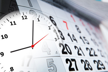 wall calendar with the number of days and clock