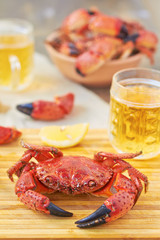 Boiled crabs and beer
