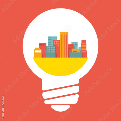 Illustration: a large city in lightbulb