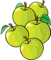 green apples illustration isolated