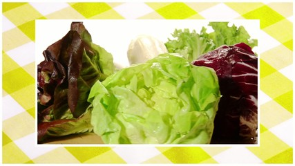 vegetables edited sequence over yellow tablecloth background