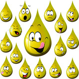 oil drop cartoon with many expression