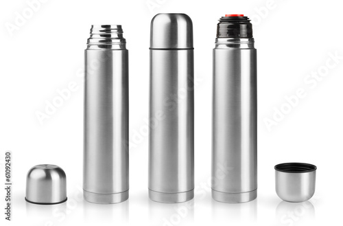 Set of thermoses in silver metallic case on white background