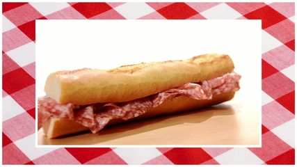 sandwiches edited sequence over red tablecloth background