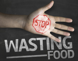 Educational composition with the message Stop Wasting Food