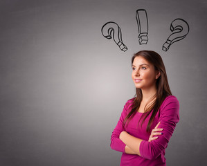 Young lady thinking with question marks overhead