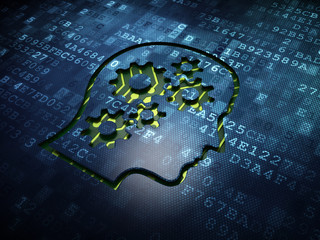 Business concept: Head With Gears on digital screen background