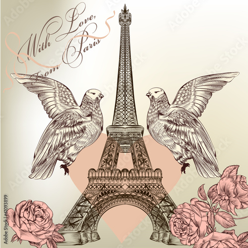 Beautiful Valentine card with detailed vector Eiffel tower, rose