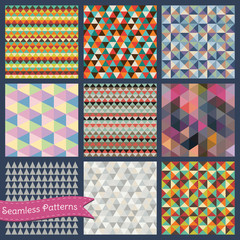 Set of Vector Seamless geometric triangle backgrounds.