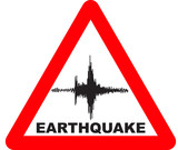 Red triangle with earthquake Warning Sign