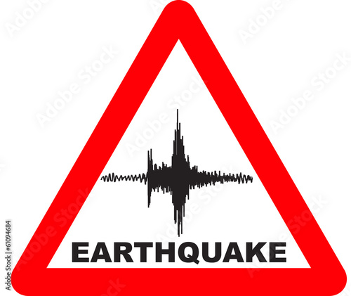 Red triangle with earthquake Warning Sign - 61094684