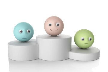 podium with 3d smiley symbol